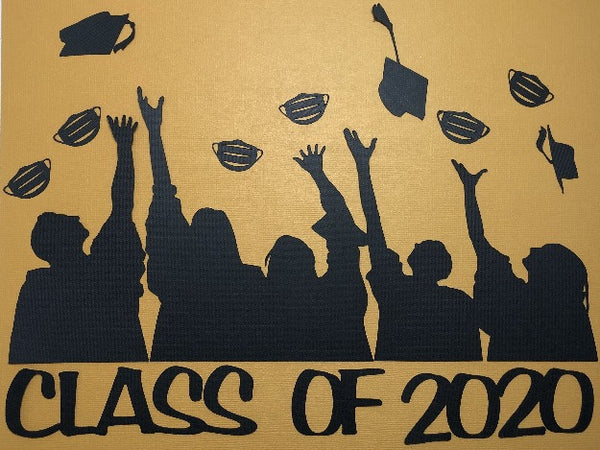 Class of 2020 Graduate Border - Throwing Masks/Caps - Die Cut