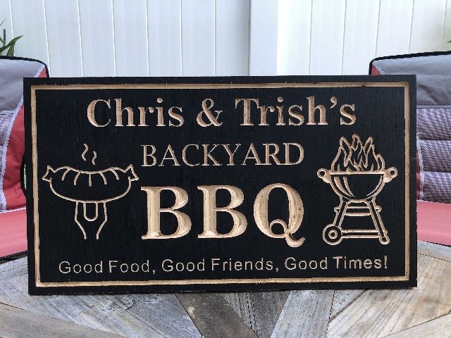 Backyard Sign | Wood Engraved BBQ Sign | Backyard Barbecue Outdoor Sign | Personalized Outdoor Sign | Custom Plaque |