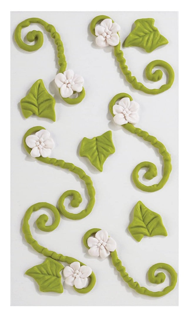 Jolee's Boutique Confections Icing Flourishes with Flowers Dimensional Stickers, Green and White