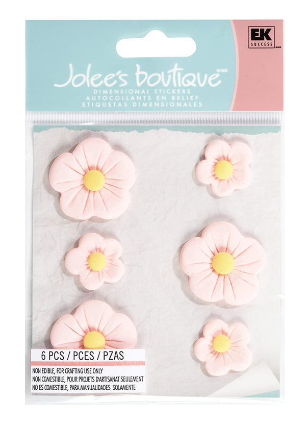 Jolee's Boutique Confections Large Fondant Flowers Dimensional Stickers, Pink