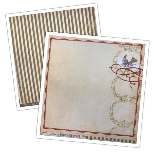 Lost & Found Christmas Peace Glittered Paper from My Mind's Eye - 12 x 12 Double Sided Cardstock