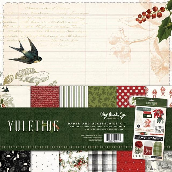 My Minds Eye - Christmas - Yuletide Collection - 12 x 12 Collection Pack with Glitter Accents