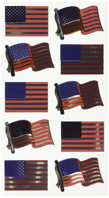 Metallic Series Stickers, American Flags Repeats