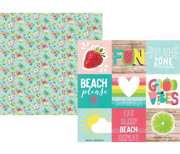 Simple Stories - Hello Summer Collection - 12 x 12 Double Sided Paper - 4 x 4 Elements