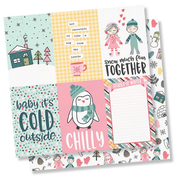 Simple Stories - Freezin' Season Collection - 12 x 12 Double Sided Paper - 4 x 6 Vertical Elements