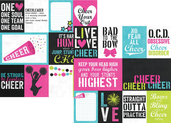 Simple Stories - Cheer Collection - 12 x 12 Double Sided Paper - 3 x 4 and 4 x 6 Journaling Cards