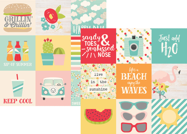 Simple Stories - Summer Days Collection - 12 x 12 Double Sided Paper - 4 x 4 Elements