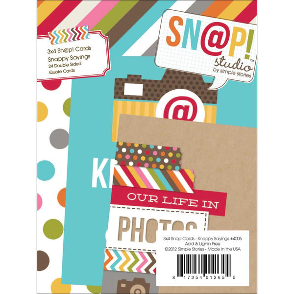 "Snappy Sayings, 48 Designs - Sn@p! Double-Sided Cardstock Quote Cards 3""X4"" 24/Pad"