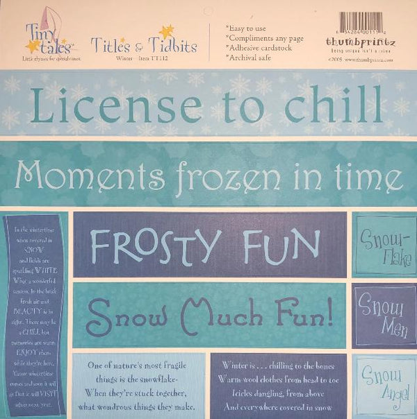 Tiny Tales - Winter Title & Tidbits Adhesive Cardstock
