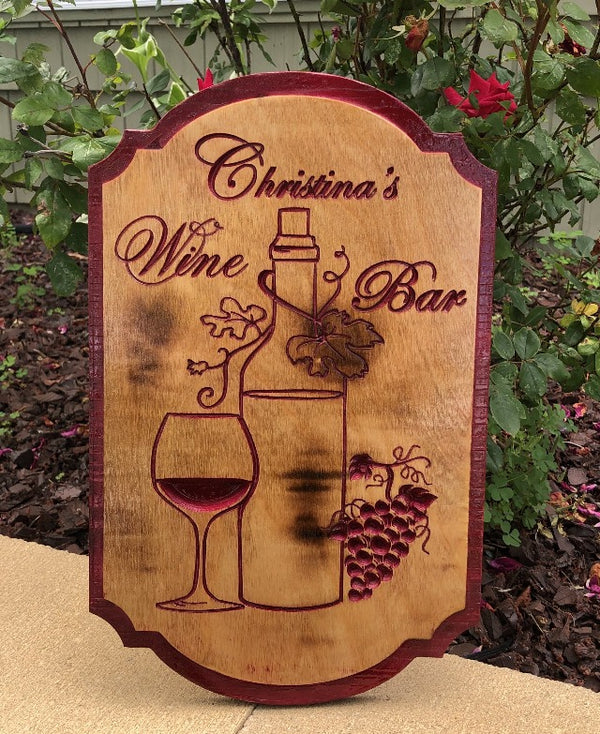 Personalized Wine BAR - Indoor/Outdoor BAR Sign - Birchwood Sign - Can be Customized