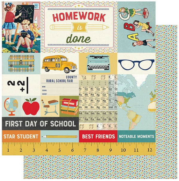 Authentique Paper - Scholastic Collection - 12 x 12 Double Sided Paper - Seven