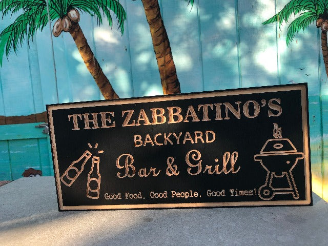 Backyard Sign | Wood Engraved Bar & Grill Sign | Personalized Outdoor Sign | Custom Plaque |