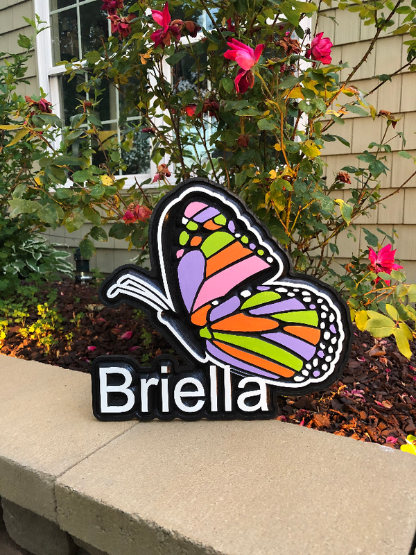 Custom Birchwood Personalized Decor - Wood Sign - Girls Bedroom or Playroom Sign - Butterfly