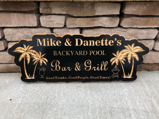 Backyard Sign | Backyard Pool Sign |Engraved Bar & Grill Sign | Personalized Outdoor Sign | Custom Plaque |