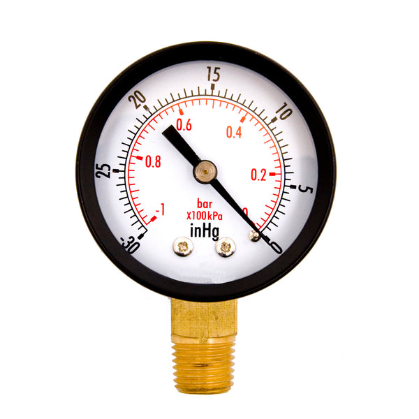 "Hardware Factory Store Inc - Vacuum Pressure Gauges 0 To -30Hg - Dry 2"" Dial - 1/4"" Npt"