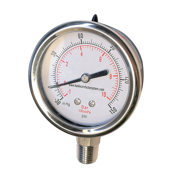 Hardware Factory Store Inc - -30HG to 150PSI Vacuum Air Pressure Gauge - Dry - 1.4