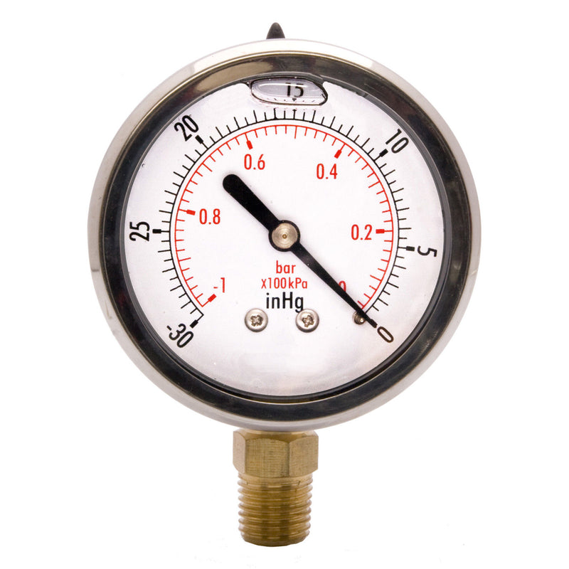 "Hardware Factory Store Inc - Vacuum Pressure Gauges 0 To -30Hg - Oil Filled 2.5"" Dial - 1/4"" NPT"