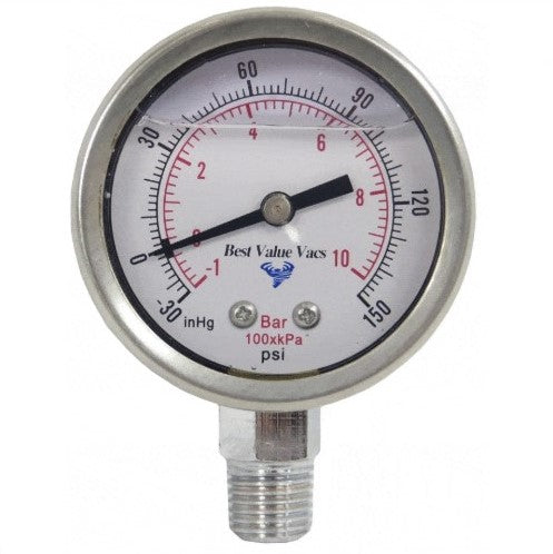 "Glycerin Filled Compound Gauge with 1/4"" NPT Base - (-30)-250 PSI"