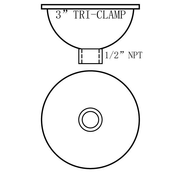 "Hardware Factory Store Inc - Tri Clamp To NPT Hemispherical Bowl Reducers - 3""x1/2""FNPT"
