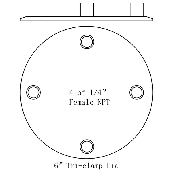 Hardware Factory Store Inc - Tri Clamp To Multiple Female NPT Port Lids - 6