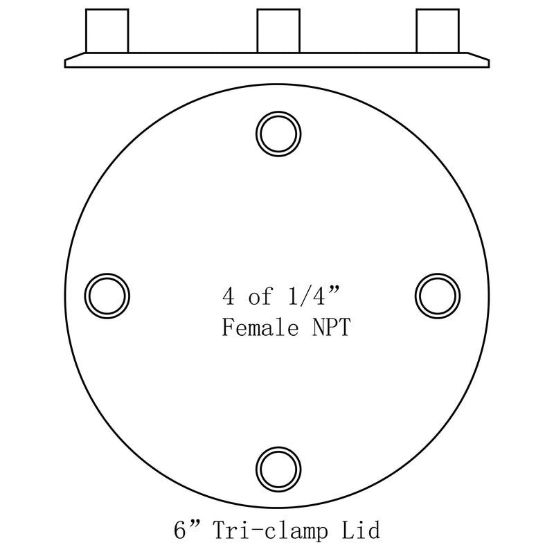 "Hardware Factory Store Inc - Tri Clamp To Multiple Female NPT Port Lids - 6""x4-1/4"""