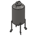 "Jacketed Solvent Tank w/ Sight Glasses, Casters, & 1.5"" TC Drain"