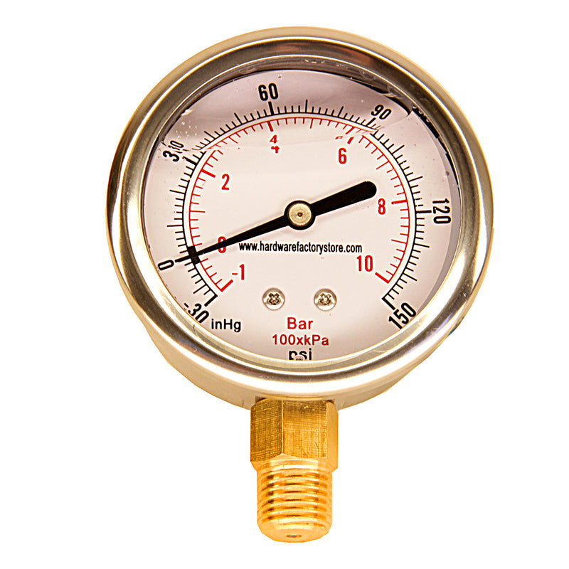 Vacuum Air Pressure Gauge  -30HG to 150PSI