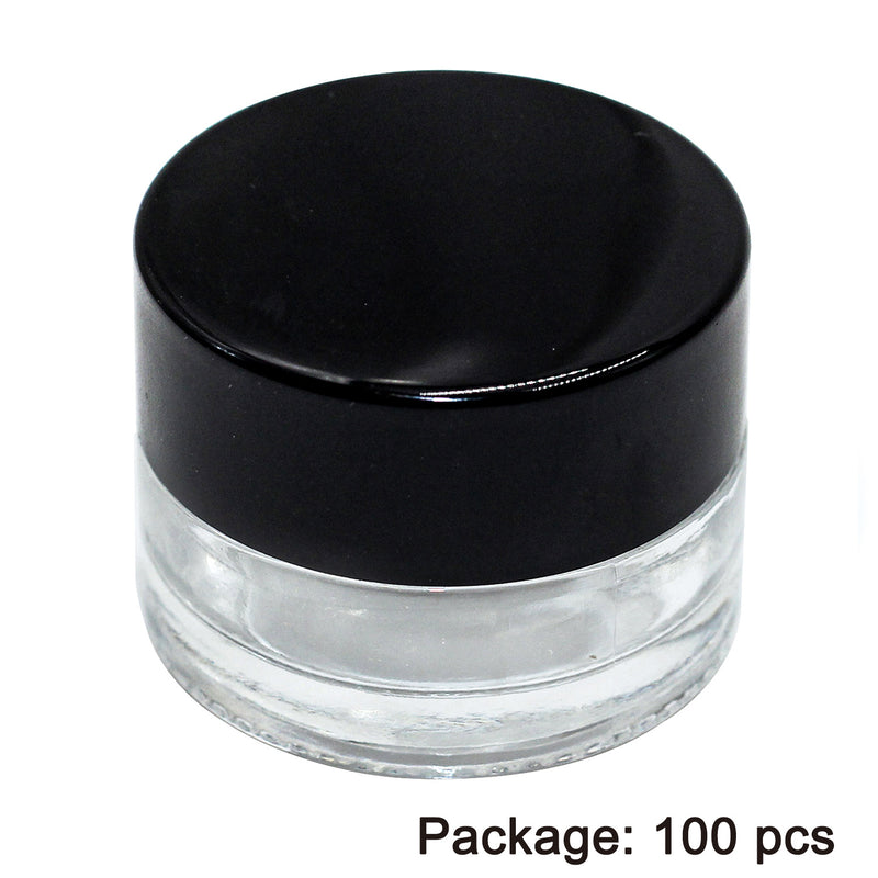 Hardware Factory Store Inc - 100 PCS 5ML Glass Jar with Seal Screw Cap (Transparent Jar with Black Cap) - [variant_title]