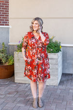 Taylor Dress - Rust Floral-dress-Michelle Mae-[option4]-[option5]-[option6]-[option7]-[option8]-Shop-Boutique-Clothing-for-Women-Online
