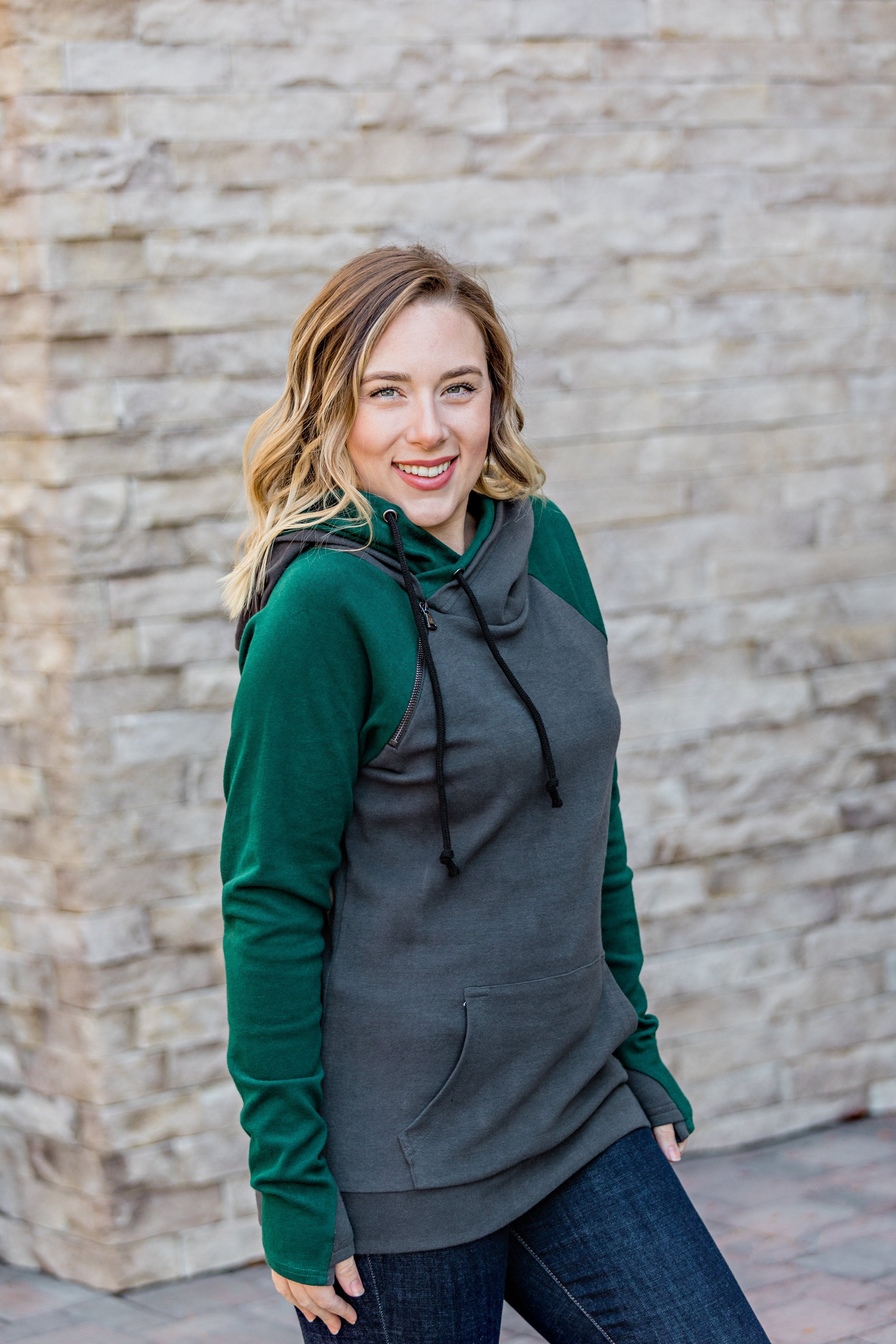 Charcoal and Dark Green Double Hoodie-Hoodie-Michelle Mae-[option4]-[option5]-[option6]-[option7]-[option8]-Shop-Boutique-Clothing-for-Women-Online