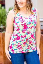 Pink Watercolor Back Criss Cross Tank