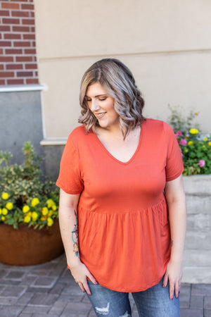 Classic Ruffle V-Neck - Pumpkin-Tops-Michelle Mae-[option4]-[option5]-[option6]-[option7]-[option8]-Shop-Boutique-Clothing-for-Women-Online