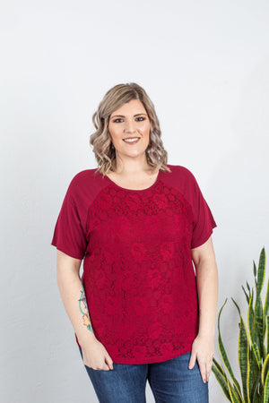 Lace Front Tee - Burgundy