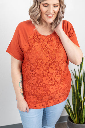 Lace Front Tee - Pumpkin-Shirts-Michelle Mae-[option4]-[option5]-[option6]-[option7]-[option8]-Shop-Boutique-Clothing-for-Women-Online