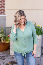 Henley Button Tie Top - Sage-Tops-Michelle Mae-[option4]-[option5]-[option6]-[option7]-[option8]-Shop-Boutique-Clothing-for-Women-Online