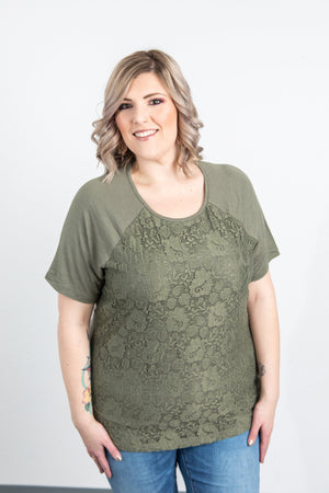 Lace Front Tee - Olive