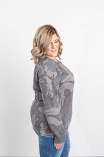 Harper Camo Henley Button Long Sleeve - Grey