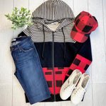 Buffalo Plaid and Stripes Full Zip Hoodie-Hoodie-Michelle Mae-[option4]-[option5]-[option6]-[option7]-[option8]-Shop-Boutique-Clothing-for-Women-Online