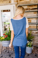 Raglan Spotted Sleeve Top- discounted sample- sz S- will fit M-Womens-Ave Shops-[option4]-[option5]-[option6]-[option7]-[option8]-Shop-Boutique-Clothing-for-Women-Online