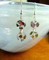 Coloured glass bead earrings