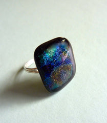 Dichroic Fused Glass Cabochon Mounted on an Adjustable Sterling Silver Ring