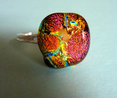 Dichroic Handmade Fused Glass Cabochon mounted on an Adjustable Sterling Silver Ring