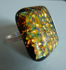 Large Dichroic Fused Glass Adjustable Sterling Silver Ring