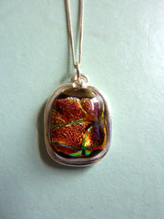 Handmade Fused Glass Cabochon set in Fine Silver