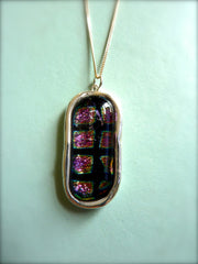 Handmade Pendant made from Fused Glass Cabochon set in Fine Silver