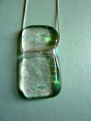 Fused Glass Slider Pendant on a Sterling Silver Chain