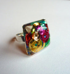 Sequin and glitter ring