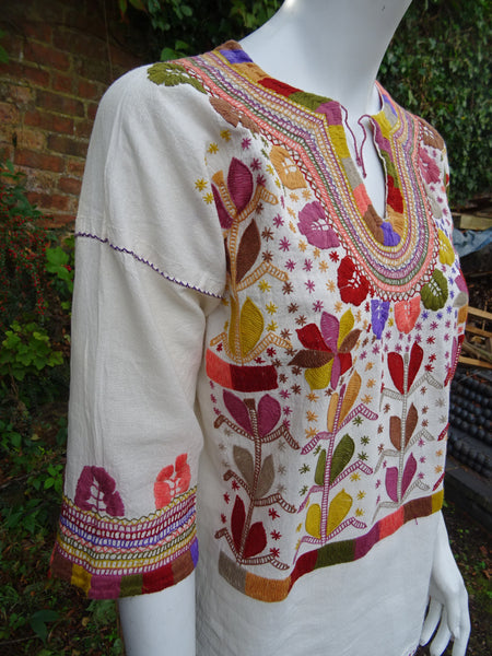 Handmade in Mexico Embroidered Cotton Ethnic Hippie Tunic