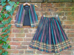 *Phool* Indian Gauzy Cotton Vintage 1970s Quilted Waistcoat and Midi Skirt Set