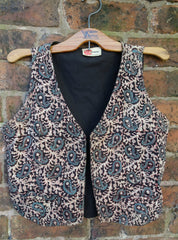 *Phool* India Imports Vintage 1970s Block Printed Cotton Waistcoat